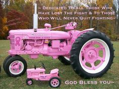 Just what a farmgirl needs, a hot pink tractor.and he thinks his tractors sexy! Perfect Pink, Pretty In Pink, Pink Tractor, I Hate Cancer, Country Girl Style, Country Life, Country Living, Go Pink, New Chrome