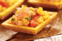 Canapes with corn salsa.
