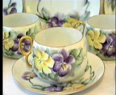 Noritake teacups with purple and yellow pansies