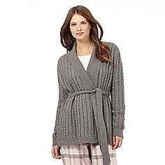 Lounge & Sleep - Dark grey cable knit cardigown
