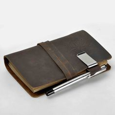 Amazon.com : ZLYC Vintage Handmade Refillable Leather Traveler's Blank Pages Journal Diary Notepad Notebook with Strap Dark Brown2 : Office Products