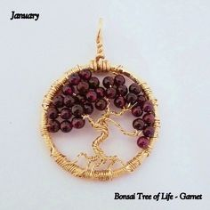 January's Birthstone - Garnet Gemstone, by K for 'Trifles & Whimsy' on Etsy.