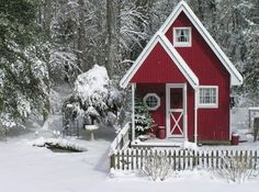 Brrr! I want to snuggle up with mulled wine next to the fire in that cute little place!