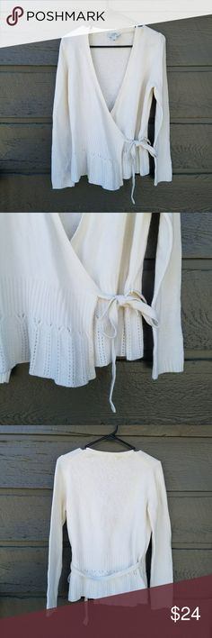 LOFT White Wrap Cardigan Sized petite Excellent condition  Feel free to ask me any additional questions! Reasonable offers are considered. No trades, or modeling. Happy Poshing! LOFT Sweaters