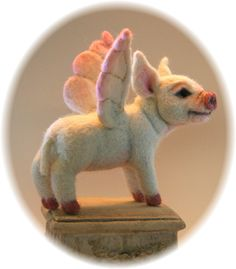 Flying Pig Alpaca OOAK Needle felted Artist Doll by Stevi T at Etsy