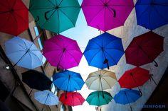 Uzhgorod was decorated with colorful umbrellas./  Ужгород прикрасили різнокольоровими парасольками. #uzhgorod #umbrella #street #city #ukraine #ukrinformphoto