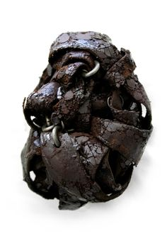 """ADAM GRINOVICH - """"Slave and the Matriarch 1"""" Brooch Leather, Tar, Iron, Steel 12 x 8.5 x 6.5 cm 2008 From the Master Thesis series"""