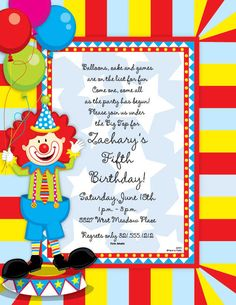 Lhuz maca lhuzmaca on pinterest birthday invitations attractive circus birthday party invitation design ideas charming circus birthday party invitation design idea with funny clown stopboris Images