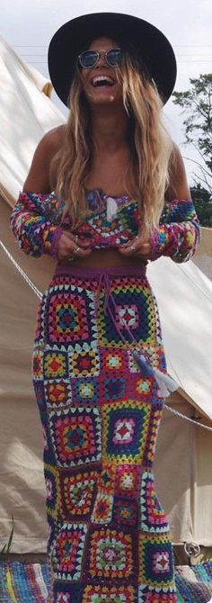 Excited to share this item from my shop: Crochet Grandy Square Motif Top and Skirt ,Boho Hippie Gypsy ,Festival Clothing. Excited to share this item from my shop: Crochet Grandy Square Motif Top and Skirt ,Boho Hippie Gypsy ,Festival Clothing. Boho Gypsy, Boho Hippie, Look Hippie Chic, Gypsy Style, Boho Style, Hippie Hats, Hippie Vibes, Trendy Style, Moda Boho