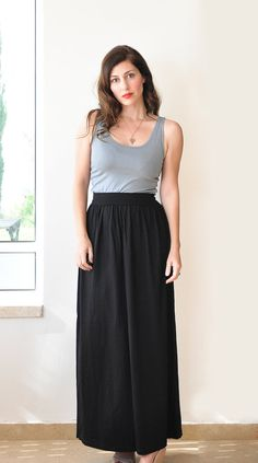 Flowy High Waist Maxi Skirt Hand Dyed in Stretch Knit Cotton ...