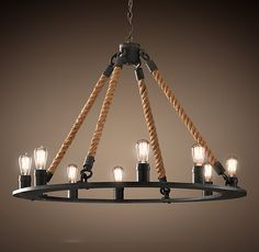 """[Restoration Hardware] Rope Filament Round Chandelier 42"""": $1046"""
