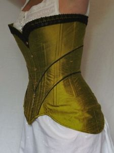 Diagonal seam edwardian corset with only 3 pattern pieces.