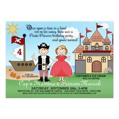 Pirate/Princess Twins Birthday Party Invitations