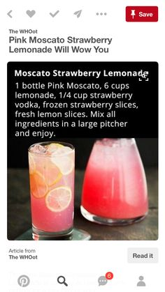 Moscato Strawberry Lemonade looks good for a summer drink For more wine-spiration visit Moscato Strawberry Lemonade looks good for a summer drink For more wine-spiration visit Party Drinks, Cocktail Drinks, Fun Drinks, Cocktails, Beverages, Strawberry Vodka, Raspberry, Alcholic Drinks, Happy Hour Drinks