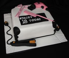 hair dryer cake - Google Search Hair Stylist Cake, Cupcake Cakes, Cupcakes, Cakes For Women, Fondant, Cake Decorating, Stylists, Desserts, Decorated Cakes