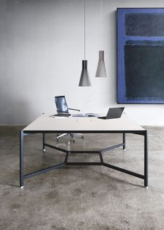 Hub Black Office Desk To Seat 4 People / ORDER NOW FROM SPACEIST