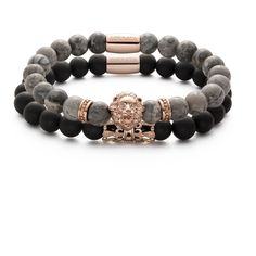 Regal Stack  A combination of the rose gold regal, and rose gold grey jasper lion High quality rose gold plating, encrusted with cz stones Zorrata logo back piece on both bracelets