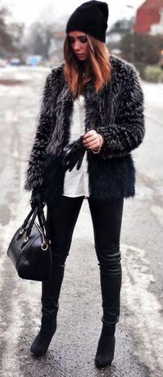 calças #winter #fashion / casaco de pele falso couro +