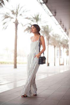 Summer style via Lovely Pepa. Stripe jumpsuit.