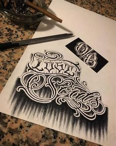 Tattoo Lettering Design, Tattoo Lettering Styles, Chicano Lettering, Graffiti Lettering Fonts, Tattoo Script, Hand Lettering, Tattoo Designs, Typography, Alphabet Letters Images