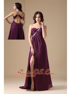 Elegant Dark Purple Empire One Shoulder Prom Dress Chiffon Beading- http://www.fashionos.com  If you want to find a gorgeous prom dress, it's the best choice. It features a pretty one shoulder strap bodice with a sweetheart neckline. The bodice is embellished with beading on the straps. The full skirt and a slight train creates a beautiful shape to complete the dress.