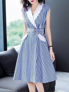 Buy Midi Dresses For Women from Misslook at StyleWe. Online Shopping Stylewe Lapel Blue Midi Dress A-line Date Dress Sleeveless Work Printed Striped Dress, The Best Work Midi Dresses. Discover unique designers fashion at . Simple Dresses, Cute Dresses, Beautiful Dresses, Casual Dresses, Fashion Dresses, Blue Midi Dress, Striped Dress, Midi Dresses, Pakistani Fashion Casual