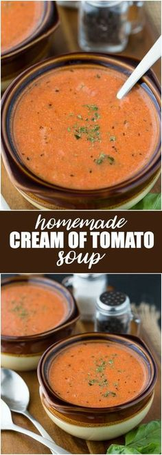of Tomato Soup Homemade Cream of Tomato Soup - Hot and tasty and made with a few simple ingredients!Homemade Cream of Tomato Soup - Hot and tasty and made with a few simple ingredients! Tomato Soup Recipes, Chili Recipes, Tomato Soup Recipe With Milk, Recipe Of Tomato Soup, Simple Soup Recipes, Drink Recipes, Cream Soup Recipes, Spinach Recipes, Healthy Recipes