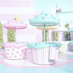 Imagine a restaurant with cupcake tables outside in the garden eating area