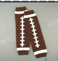 Football legwarmers to go with her Packers onesie now that the weather is cooling down...