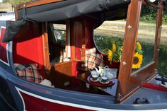 Stunning little narrowboat with a cratch cover. Turnbuttons used to fasten it down and also hold up the rolled canopy. Living On A Boat, Tiny House Living, Barge Interior, Interior And Exterior, Canal Boat Interior, Canal Barge, Narrowboat Interiors, Tiny House Swoon, Floating House