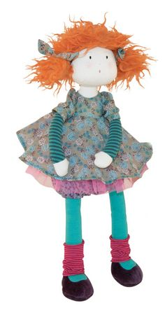 Adèle Rag Doll: Red-head rag doll called Adele. A pretty little thing sporting turquoise tights. A pretty little thing, she wears a pink tulle skirt, striped tights and spotted knickers under her flowery dress. Great to play with or to decorate little - girls'rooms. She c - Moulin Roty Les Coquettes