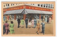 F W Woolworth Store Atlantic City New Jersey linen postcard