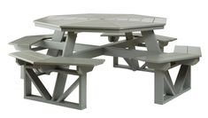 Jake's Amish Furniture - #5757 Five Piece Octagon Picnic Table Shown in Gray