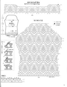 Crochet pineapple stitch cardigan - pattern diagram #3