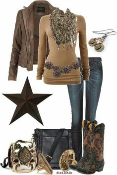 Cowboy boats outfit winter jeans country girls belts Ideas for 2019 Fashion Moda, Look Fashion, Girl Fashion, Fashion Outfits, Womens Fashion, Cowgirl Outfits, Western Outfits, Western Wear, Cowgirl Style
