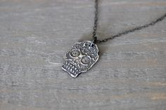 ON SALE Sterling Silver Sugar Skull Necklace // Sterling Silver Chain with Brushed Patina // 17 inch on Etsy, $33.44