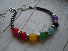 Chakra Balancing Om Ohm Bracelet - Seven Chakra Gemstones - Yoga Jewelry - Namaste - Gift For Her - Handmade Jewelry    Made With Semi-Precious