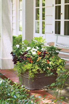 Rustic Freestanding Container Trash is turned into beautiful treasure with this budget-friendly, galvanized-metal washtub container. Maroon Joseph's coat, green coleus, and yellow creeping Jenny accents the front porch or entryway. Container Flowers, Container Plants, Container Gardening, Gardening Zones, Urban Gardening, Gardening Tips, Porche Frontal, Full Sun Plants, Garden Stand