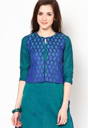 3/4Th Sleeve Green Solid Kurti With Jacket