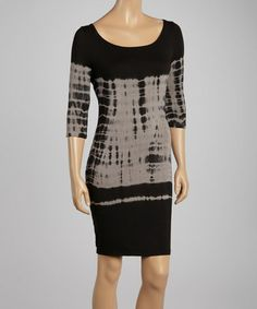 Another great find on #zulily! Black Tie-Dye Scoop Neck Dress by American Buddha by Yogi #zulilyfinds