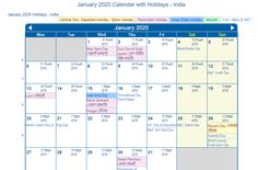 Get January Holidays January 2020 Calendar with Festival Dates & Events, January 2020 Holidays USA UK Canada Malaysia Singapore India NZ Australia Germany & More countries. January Calendar, Online Calendar, Holiday Calendar, Holiday Dates, Holiday List, Holidays And Events, World Braille Day, Kansas Day