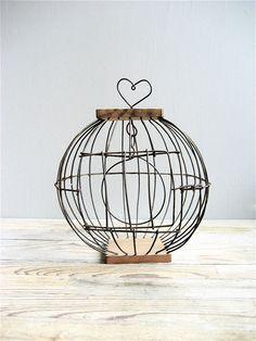 vintage wire bird cage.