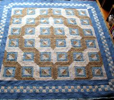 View Full-Size ~ Blue Moon Log Cabin Quilt
