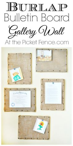 Burlap bulletin boards with nail head trim gallery wall from At the Picket Fence.com