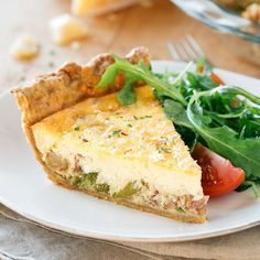 Savory Quiche with Herb Crust—filled with rosemary baby potatoes, caramelized onions, bacon & asparagus!
