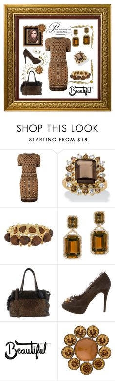 """""""Tan and Brown Styled"""" by mcronald-denise ❤ liked on Polyvore featuring Alexander McQueen, Kenneth Jay Lane, Goshwara, Caterina Lucchi, Dolce&Gabbana, Louis Vuitton and WALL"""