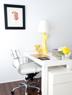 White Eames chair.