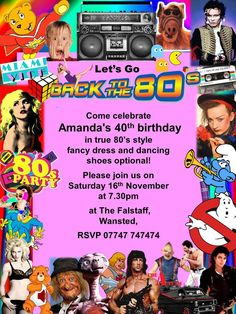 10 Personalised Pink 80#039;s Fancy Dress Disco Birthday Party
