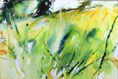 Spring Meadow watercolour landscape by Adrian Homersham