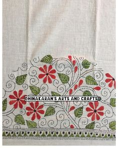 Discover thousands of images about White Floral 🌺Kantha Blouse Piece! HandEmbroidered on Back & Sleeves with Lovely Combination of Red & green on white base! Grab this… Kasuti Embroidery, Hand Embroidery Dress, Hand Embroidery Videos, Embroidery Techniques, Cross Stitch Embroidery, Simple Embroidery Designs, Machine Embroidery Designs, Embroidery Patterns, Fabric Paint Designs